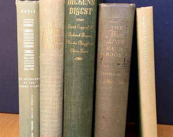 Mossy greens of various hues, five vintage decorative books