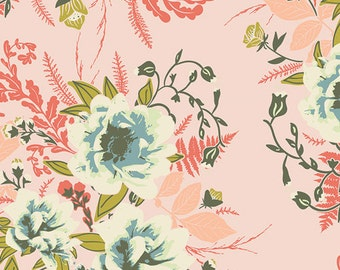 """1 Yard WIDE Wild Posy Flora, 58"""" Wide, Forest Floor Collection, Bonnie Christine, Art Gallery Fabrics, Quilt Back Cotton"""