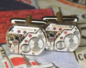 Steampunk Cuff Links Cufflinks - Torch Soldered - Antique Silver OMEGA Watch Movements w Ruby Jewels - Super Rare Pair w Beautiful Shine -