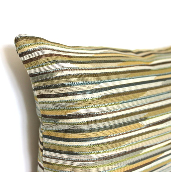 Lumbar Pillow Cover Green Teal Gold Brown Stripe By