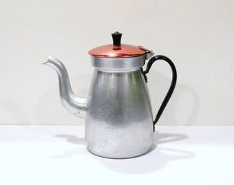 Vintage Tea Kettle - Aluminum Tea Pot - Red Aluminum Tea - Triangle Aluminum