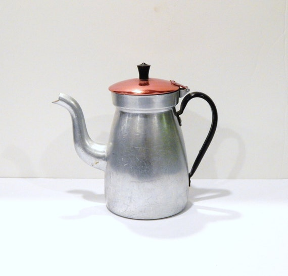 Red Tea Kettle ~ Vintage tea kettle aluminum pot red