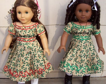 OOAK circa 1865 green Christmas dress based on Wisconsin Historical Society. Fits AG, Springfield, Gotz, Our Generation. Made in USA