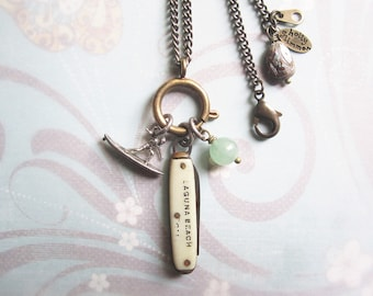 Surfer Charm Holder Necklace / Vintage Pocket Knife Assemblage Necklace / Retro Beach Jewelry / OOAK