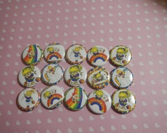 15 Rainbow Brite Inspired Character Pinback Button Shower Goody Gift Treat  Party Favors Brooches