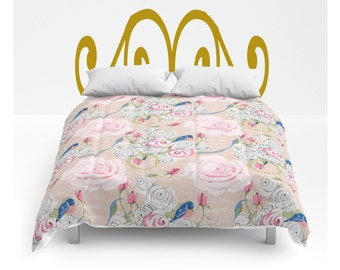 Comforter, Shabby Chic Watercolor roses, and bluebirds, twin, full/queen and King sizes