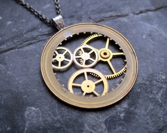 "Watch Parts Pendant ""Anderson"" Delicate Beautiful Mechanical Watch Sculpture Necklace Industrial Steampunk Wearable Art Mechanical Mind"