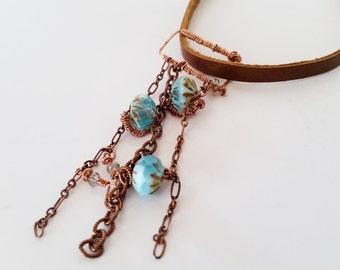 """Copper Chain, Blue Glass Beaded Pendant Necklace, """"Adriatica"""""""