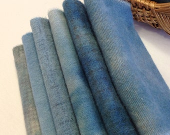 Country Cupboard Blues, Hand Dyed Wool Fabric for Rug Hooking and Applique, 6) Fat Sixteenths, W217