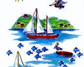 Island Day Sail Long-sleeve t-shirt handpainted for kids