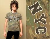 vintage 90s camouflage NYC shirt camo t-shirt 1990 tee raver grunge New York City Liquid Sky rave gear medium large M L