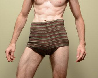 mens vintage bathing suit 40s 50s swimsuit trunks Jantzen madras 1940 1950 stripe speedo trunk 34 medium M deadstock