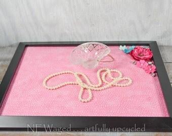 Vanity tray with embellishments, dresser tray, perfume tray, jewelry tray, ottoman tray