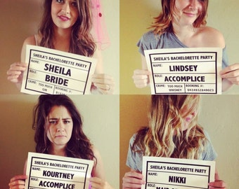 Bachelorette Party Mugshot Sign, Printable Bachelorette Party Mugshot Signage, Custom Designed Mugshot Sign for Your Special Event