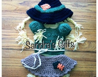 Baby Girl Scarecrow fall crochet set/costume