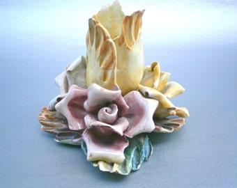 Vintage Yellow Flower Candle Holder Ceramic Rose Pink Petals Candleholder Candlestick Shabby Cottage Italian Single Bud Blooms Porcelain