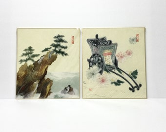 Pair of Vintage Japanese CHIGIRI-E pictures, mountainous landscape and rickshaw, sealed in original sleeves, rice paper art