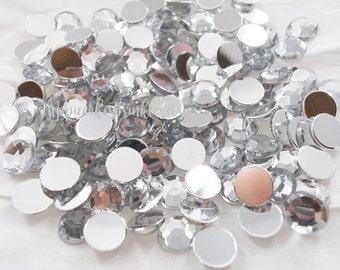 100pcs - 8mm Crystal Clear Acrylic Flatback Rhinestones AR10008