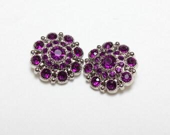 Set of 5 Rhinestone Acrylic Button, Plum Purple Button embellishment,28 mm,Rhinestone Buttons, wholesale rhinestone button,bow center