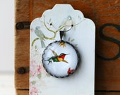"""Hummingbird Vintage Inspired Brass and Glass Bubble Necklace (#29) - """"Rozie Series"""""""