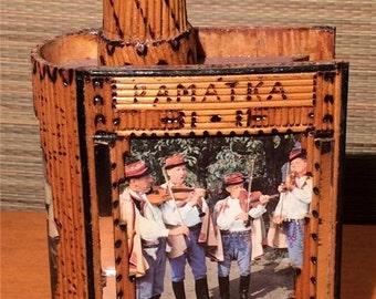 Czech FOLK ART Book Flask Bottle PAMATKA Slovakia Polish Music Souvenir