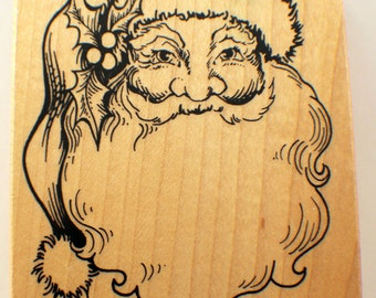 Psx K-292 Kris Kringle Santa Claus St Nick With Hat Wooden Rubber Stamp