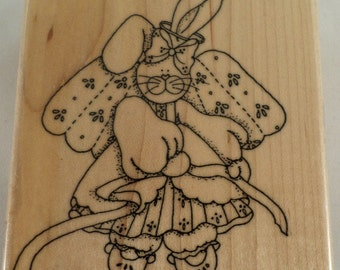 Finders Keepers Fk643 1995 Country Angel Bunny Rabbit Easter Wooden Rubber Stamp