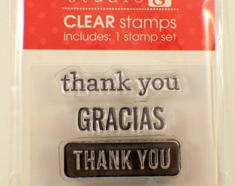 Thank you Gracias Merci Thanks Studio G Clear Cling Rubber Stamp Set