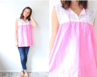 20% OFF BIRTHDAY SALE Vintage Large boho pink blouse // lace floral pink blouse // summer boho blouse // hippie top // festival blouse // ov