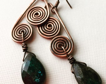 Copper earrings with kyanite drop beads with swirls - wire earrings