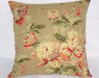 "Tan and Orange Floral Pillow, Waverly Fleuretta in Chutney, Coral Vintage Look, 17"" Cotton Square, Ready Ship, Cover and Insert"
