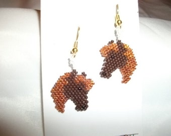 Horse heads Earrings Brown N Shiny Brown
