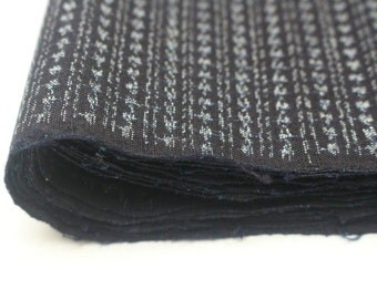 Hand Loomed Antique Cotton. Japanese Kasuri Kagasuri Ikat. Dark Indigo Blue Black Scraps. (Ref: 1601G)