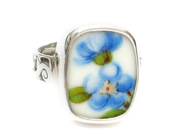 Size 8 Broken China Jewelry Blue Forget Me Not Flowers AB Sterling Ring