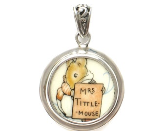 Broken China Jewelry Beatrix Potter Mrs. Tittle Mouse C Sterling Pendant