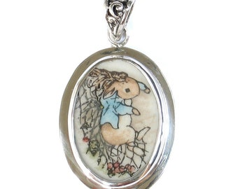 Broken China Jewelry Beatrix Potter Peter Rabbit with Net Sterling Pendant