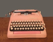 Vintage Pink Smith Corona Typewriter Mid Century 1950s 50s for Staging or Photo Prop