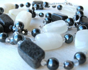 White Stone and grey pearls necklace & earrings set - classic, charcoal grey, off-white, natural stone