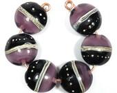 Violet and Black Handmade Lampwork Bead Set  - Lentil shape