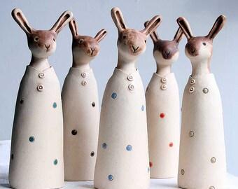 Quizzical hare-ceramic ornament-rustic figurine-made to order