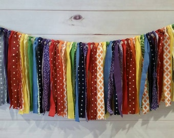 Rainbow Fabric Streamer Garlad, Rainbow Birthday Party