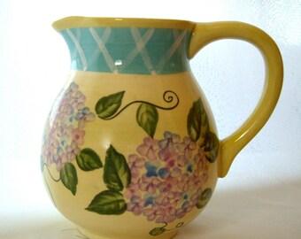 Vintage Hydrangea Floral Planter Pitcher 1990s