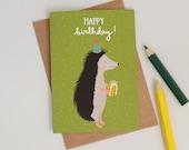 Hedgehog Birthday Card, Party Hat Hedgehog, British Wildlife Animal Birthday Card, Illustrated Hedgehog Card, Hand Lettered Birthday Card