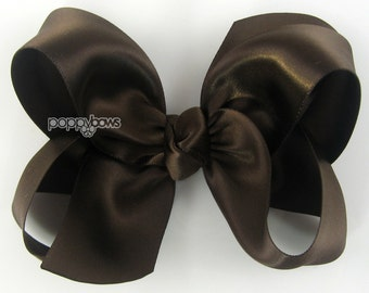 "Girls Hair Bow - 4 Inch Satin Hair Bow - brown satin hair bow - Thanksgiving hair bow - baby girls hairbow - big hair bow 4"" boutique bows"