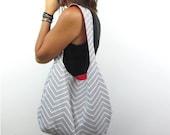 gray chevron hobo bag. design your own cross body bag or shoulder purse large or medium. Fall line.