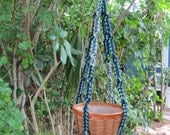 Multi Colors Denim Black Jute 36 Inch No Beads Macrame Plant Hanger
