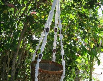 White 40 Inch Beads Macrame Plant Hanger