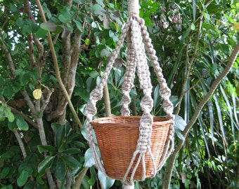 "Hemp 21 "" No Beads Macrame Plant Hanger"