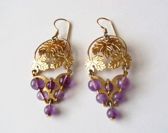Grape Earrings Gold Plated Dangles Vintage Grape Leaf & Grapes Motif w/ Purple Real Amethyst Beads WB© Wild Bryde Jewelry of California