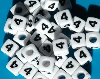 Number 4, 7x7mm Cube Beads Brite White with Glossy Black Number, 100pc